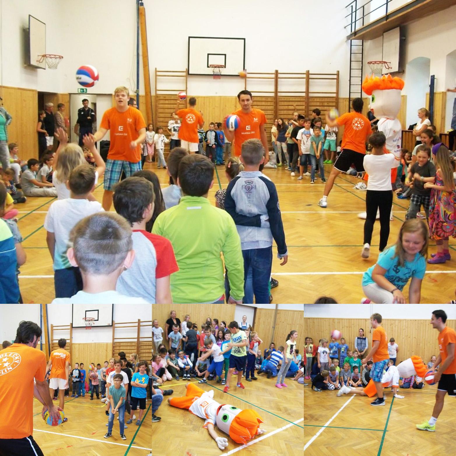 Foto: Málek, Široký a Hudeček rozdávali volejbalovou radost na ZŠ Truhlářská