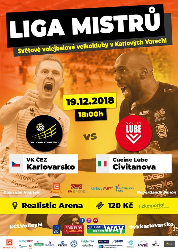 Liga mistrů: VK ČEZ Karlovarsko - Cucine Lube Civitanova